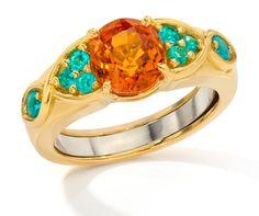 mandarin garnet and paraiba tourmaline ring