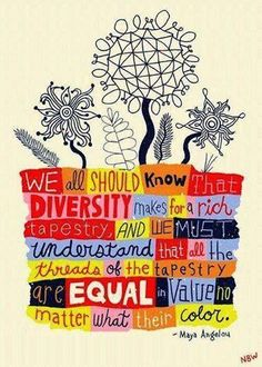 We all should know that diversity makes for a rich tapestry and we must understand that all the threads of the tapestry are equal in value no matter what their color. - Maya Angelou Quote by Nate Williams Illustration and Hand Lettering We Are The World, In This World, Great Quotes, Inspirational Quotes, Daily Quotes, Awesome Quotes, Maya Angelou Quotes, Little Buddha, Thinking Day