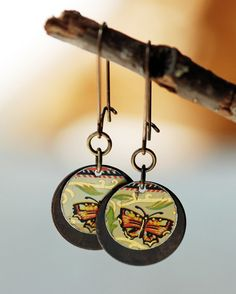 Vintage Tin Butterfly Earrings Repurposed by EntwyneDesigns