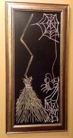 My Halloween Chalk Art! … My Halloween Chalk Art! Halloween Chalkboard Art, Fall Chalkboard, Blackboard Art, Chalkboard Writing, Chalkboard Lettering, Chalkboard Designs, Chalkboard Paint, Chalkboard Ideas, Chalkboard Doodles