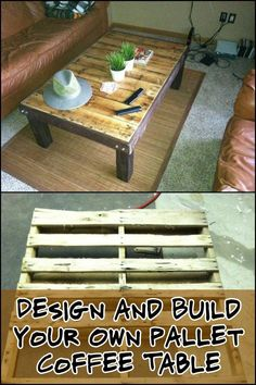 Old Pallets Ideas Give old pallets new life by turning them into a coffee table! How would you design yours? Diy Furniture Projects, Diy Pallet Projects, Pallet Furniture, Easy Diy Projects, Woodworking Projects, Pallet Ideas, Old Pallets, Recycled Pallets, Wooden Pallets