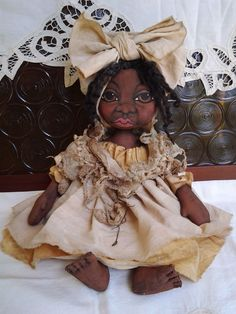 Primitive Black Folk-Art Cloth Doll * One Of A Kind  * 16 Inches #BlackFolkArt