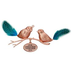 Our Christmas Together 2016 Hallmark Ornament  Love Birds  Copper Metal Feathers #Hallmark