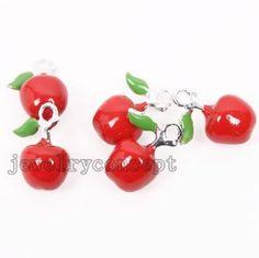30x Vividly Nice Enamel Apple Shape Alloy Pendant Findings Fit Jewelry Crafts J