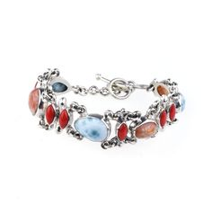 Silver Narrow Bracelet With Coral, Larimar & Desert's Sand  - product images  of SCHJ www.silverchamber.co.uk