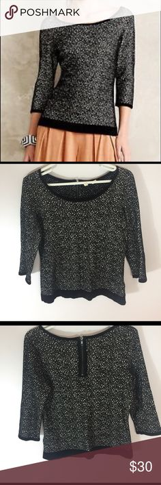 Anthropologie Moth Zip Sweater So cute! Excellent pre worn condition. 3/4 sleeve. Size medium. Anthropologie Sweaters