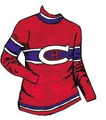 1923-1924 Les Canadiens De Montréal conservent leurs couleurs, mais reviennent au «C» blanc. Les bandes bleues et blanches au bas du chandail sont de nouveau inversées, et des bandes rouges, blanches et bleues sont ajoutées au col. Go Habs Go !!