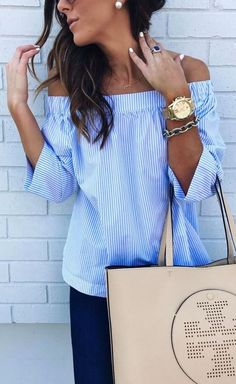 Summer Outfits: 40 Glamorous Outfits To Inspire You Glamouröse Outfits, Cool Outfits, Casual Outfits, Fashion Outfits, Off The Shoulder Top Outfit, Shoulder Tops, Striped Off Shoulder Top, Nude Bags, Cute Spring Outfits