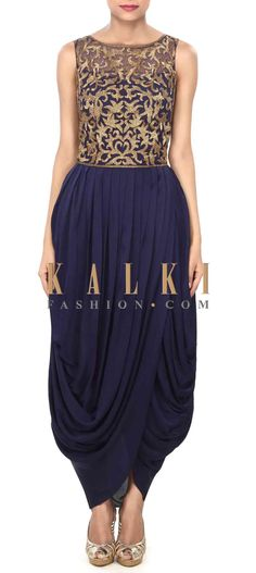 Buy Online from the link below. We ship worldwide (Free Shipping over US$100) Price- $459 Click Anywhere to Tag http://www.kalkifashion.com/navy-blue-dress-enhanced-in-kardana-and-cowl-drape-only-on-kalki.html
