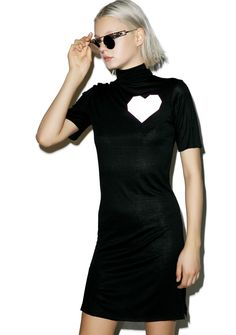 ESQAPE Lov T Turtleneck Dress yer heart is glowing, bae. This xtra soft N smooth short sleeve dress features a 3M reflective heart pocket right on ya chest with a comfy slim fit, turtleneck with logo and sassy lil side slits.