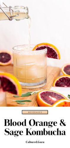 Blood orange and sage is a beautiful flavor combination! It's the perfect herbaceous, citrusy flavor combination for fizzy kombucha. This blood orange kombucha recipe is for a second fermentation flavoring and carbonation. It's the step that follows primary kombucha fermentation in order to add bubbles and delicious flavor to your fermented drink! #kombucha #orange #fermentation