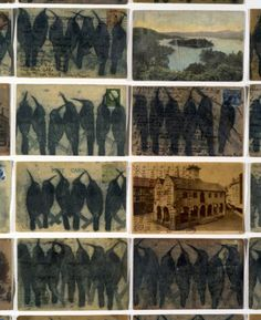 Glen Skien, Archive of the Unfamiliar (detail), 2013, altered postcards, thread, ink, encaustic, dimensions variable.