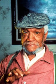"""Redd Foxx Stand-Up/ TV & Film Comedian/ Actor: Host of """"The Redd Foxx Show"""", Fred G. Sanford in TV's """"Sanford and Son""""; He died of a heart attack at age His birthname was John Elroy Sanford. Hollywood Stars, Old Hollywood, Redd Foxx, Sanford And Son, Before Us, Classic Tv, Famous Faces, Funny People, Funny Things"""
