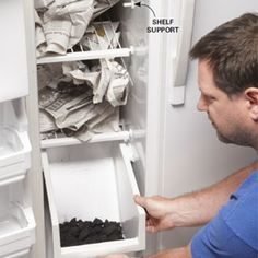 Clean a Stinky Fridge ..Turn a stinky fridge into a clean fridge by disinfecting the interior and then adding newspapers and charcoal for the final treatment. Odors will be gone within several days.