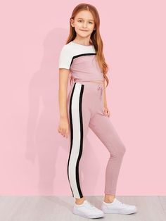 Shop Girls Cut and Sew Top & Drawstring Waist Pants Set online. SHEIN offers Girls Cut and Sew Top & Drawstring Waist Pants Set & more to fit your fashionable needs. Girls Fashion Clothes, Tween Fashion, Teen Fashion Outfits, Cute Girl Outfits, Kids Outfits Girls, Cute Casual Outfits, Camouflage Hoodie, Mode Glamour, Girls Cuts