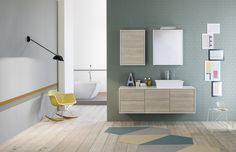 Contemporary details and soft colors for a really elegant setting: #bath furniture and #washbasin by #MastellaDesign. #design #interiors #homedecor #decor #bathdesign #designbath #bathroom