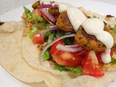 Veganise This!: Baked falafels with home-made pita and garlic sauce Baked Falafel, Falafels, Garlic Sauce, Clean Recipes, Caprese Salad, Vegan Food, Nom Nom, Homemade, Baking