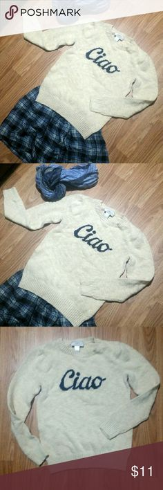 LOFT Ciao Sweater LOFT Ciao Sweater I'm excellent used condition. Cream/beige with navy print. Size XXSP. Offers are welcome! LOFT Sweaters Crew & Scoop Necks
