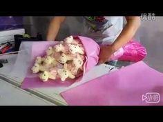 7700单面钻熊花束材料包教学视频 - YouTube