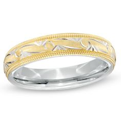 Ladies' 4.0mm Comfort Fit Swirl Patterned Wedding Band in Sterling Silver and 10K Gold - Zales - love band rings with the gold and silver etch designs.. simple but pretty