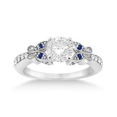 More Sapphires!!!  Butterfly Diamond & Sapphire Engagement Ring 14k White Gold (0.20ct)-Allurez.com
