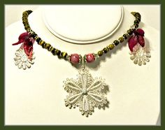 Silver Lace Flowers Statement Necklace of Olive Green Cats Eye and Lavender Quartz with Purple Leaves by RomanticThoughts Perfect for Spring!