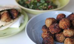 These lamb and chickpea balls are a little spicy and very delicious when served with hummus and tabouli. Make a double batch to save in the freezer for lunches during the week.