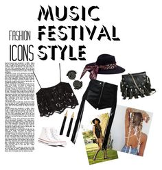 """Black Coachella"" by chikazalea on Polyvore featuring Miguelina, Converse, Yves Saint Laurent, Diesel and GUESS by Marciano"