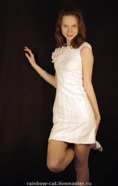 """Купить Валяное платье """"Нежно-снежное"""" - валяное платье, войлочное платье, нуновойлок, авторское платье"""