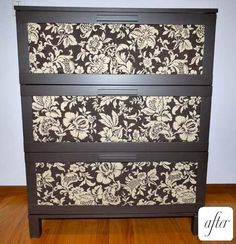 Convert a cheap Ikea dresser into a statement piece by taking out the plastic panels and replacing them with cloth covered cardboard
