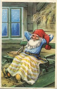 Gnome relaxing with a blanket. Swedish Christmas, Christmas Gnome, Scandinavian Christmas, Alphonse Mucha, Vintage Christmas Cards, Vintage Cards, Illustrations, Illustration Art, David The Gnome