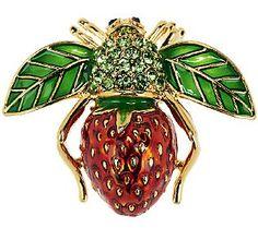 Joan Rivers Strawberry Bee Pin