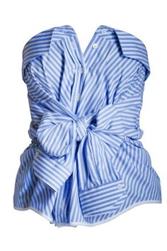Perhaps another way to wear that button up shirt you stole from your boyfriend's closet?   Alexis Mabille Blue Striped Bustier.