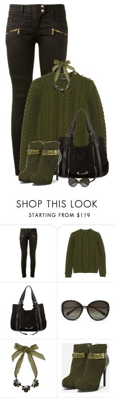 """green cable knit sweater"" by kristine-kuch ❤ liked on Polyvore featuring mode, Balmain, Kooba, Vivienne Westwood, Dsquared2 et CHARLES & KEITH"