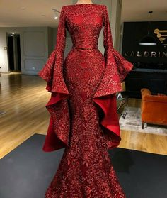 Most beautiful dresses - Burgundy evening dresses 2020 long sleeve sparkle sequin appliqué mermaid elegant evening gown vestido de Longo – Most beautiful dresses Burgundy Evening Dress, Evening Dresses With Sleeves, Long Sleeve Evening Gowns, Elegant Evening Gowns, Red Long Sleeve Gown, African Evening Dresses, Evening Gowns Couture, Sequin Evening Gowns, Designer Evening Gowns