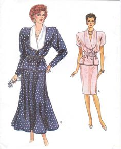 80s Vogue Sewing Pattern 9772 Womens Shawl Collar Blouson Top & Slim or Flared Skirt Size 8 10 12 Bust 31 1/2 to 34 UnCut