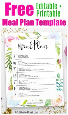 Free Editable Printable Meal Planner This free editable meal plan template printable is a pretty and easy way to put together a beautiful meal plan Free to all A Cultiva. Weekly Meal Plan Template, Menu Planning Printable, Meal Planner Template, Planning Menu, Planning Budget, Printable Planner, Meal Planning Templates, Free Printable Menu Template, Weekly Menu Printable