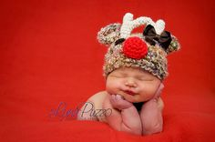 Santa's Reindeer Hat With  A BOW Baby by BabiesBugsAndBees on Etsy, $21.99