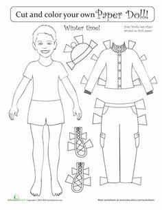 Worksheets: Seasonal Paper Dolls: Winter Boy
