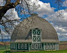 Round, green barn
