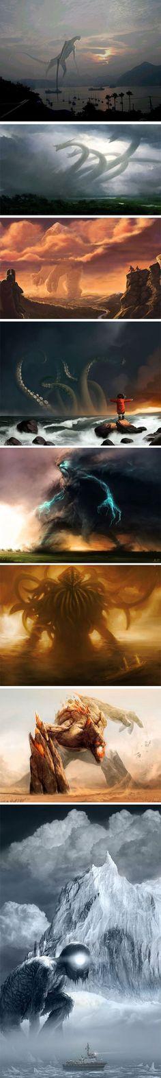 Dark Fantasy Art, Fantasy Artwork, Fantasy World, Dark Art, Fantasy Creatures, Mythical Creatures, Creature Concept, Monster Art, Creature Design