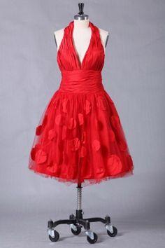 V-Neck Elegant Red Evening Dresses - Order Link: http://www.theweddingdresses.com/v-neck-elegant-red-evening-dresses-twdn2113.html - Embellishments: Applique , Ruffles; Length: Short; Fabric: Tulle; Waist: Natural - Price: 146.77USD