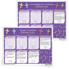 Designed for adults, Sadlier's 2015 Lenten Calendar in English and Spanish offers a Scripture passage for reflection and a suggestion for an action, prayer, or contemplation for each day of the Lenten season.