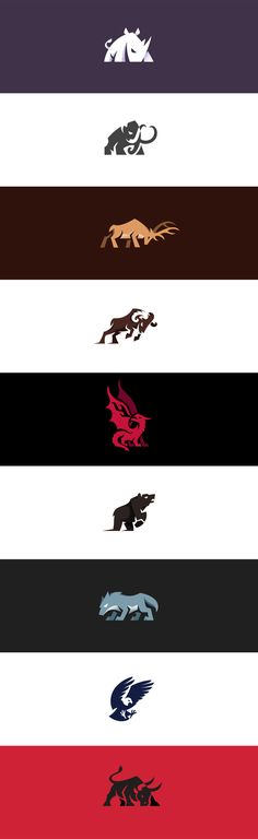 Aggressive and charging animal logos I made . #logo #logos #rhino #mammoth #elephant #deer #elk #buck #ram #dragon #bear #wolf #eagle #bull #aggressive #creative #design #illustration #kreatank