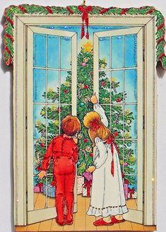 Christmas Morning Kids Tree French Doors Glittered Ornament Vtg Greeting Card   eBay