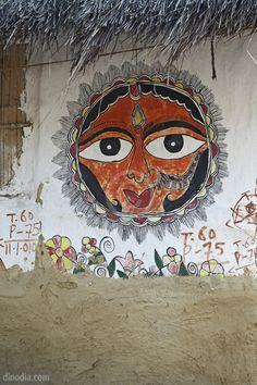 Sun God Painting on Wall Madhubani Bihar India Asia