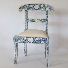 Bone inlay chair : made of wood and worked with bone inlay art, floral design, blue color scheme. #chair #diningchair #boneinlay #interior #homedecore #furniture #handicraft #indianart #indianfurniture