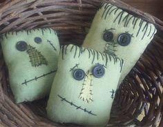 Primitive Halloween Frankenstein Bowl Fillers ...assorted set of 3. $18.85, via Etsy.