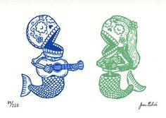 jose pulido | Tumblr Underwater Art, T Art, Couple Tattoos, Mexican Folk Art, Schick, Future Tattoos, The Little Mermaid, Day Of The Dead, Chicano
