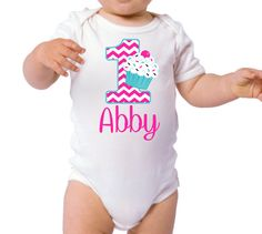 1st Birthday Cupcake 1st Chevron Bodysuit by BabyBirthdayTee, $17.00